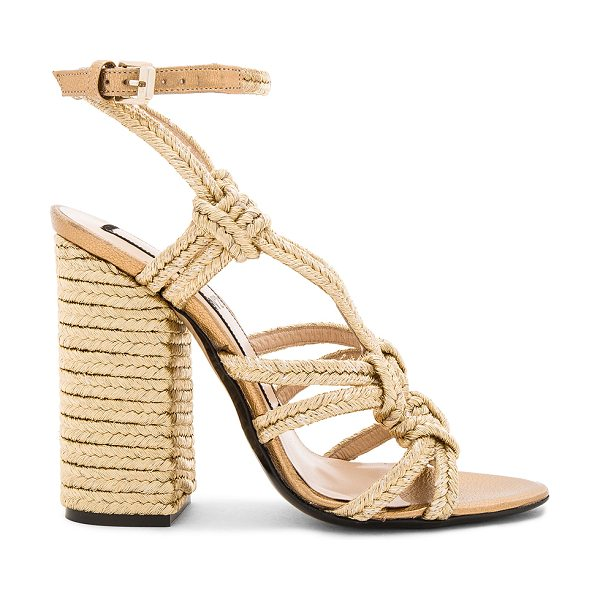 No. 21 Woven Strappy Heel in metallic gold - Woven metallic textile upper with leather sole. Wrap...