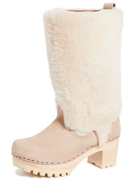 No.6 alpha shearling boots in bone/cream - Fur: Dyed sheep shearling, from United States Leather:...