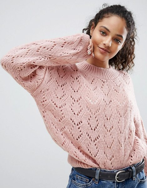 Nobody's Child Relaxed Sweater In Textured Knit in blush - Sweater by Nobody's Child, Round neck, Dropped...