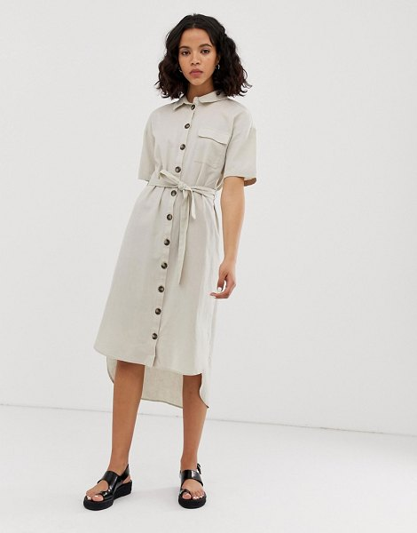Noisy May button through utility shirt dress in beige