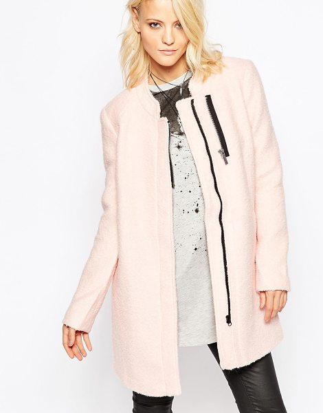 Noisy May Collarless coat in peach - Coat by Noisy May Textured wool-mix fabric Collarless...