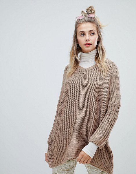 Noisy May deep v-neck oversize sweater in taupegrey
