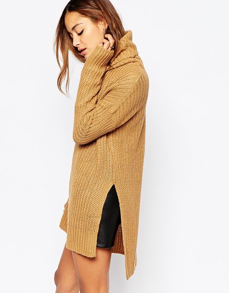 Noisy May Favor long roll neck knit in brown