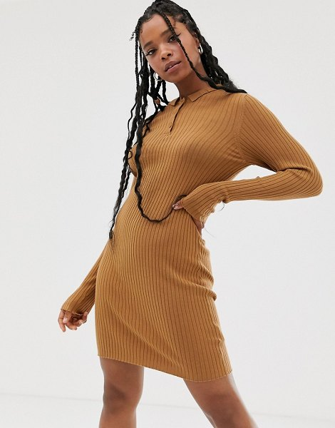Noisy May knitted mini dress in tobacco-brown in brown