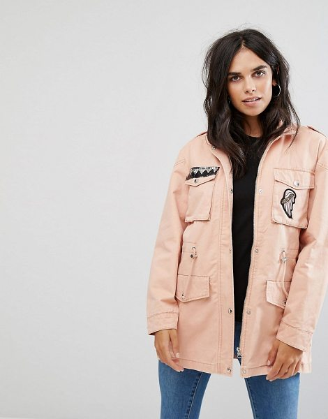 """Noisy May Lex Cargo Jacket with Patches in pink - """"""""Jacket by Noisy May, Smooth woven fabric, Shoulder..."""