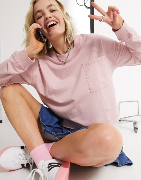 Noisy May lightweight sweat top in pink in pink