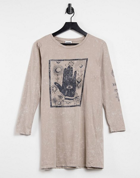 Noisy May long sleeve oversized t-shirt with zodiac graphic in washed stone-neutral in neutral