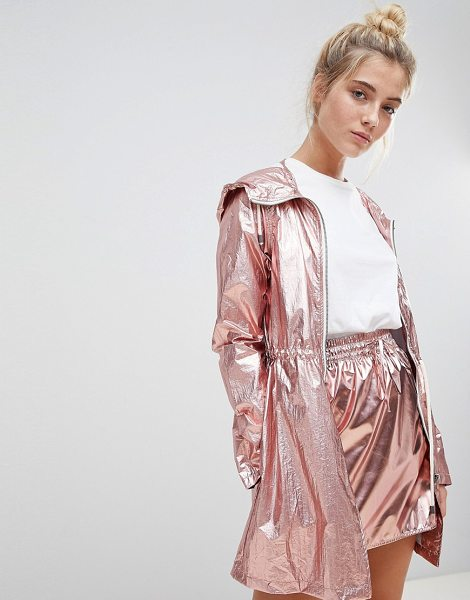 Noisy May metallic festival parka in pink