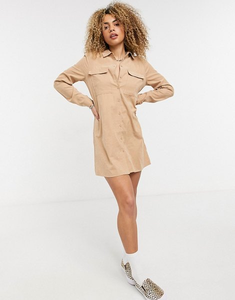 Noisy May mini shirt dress in camel-brown in brown
