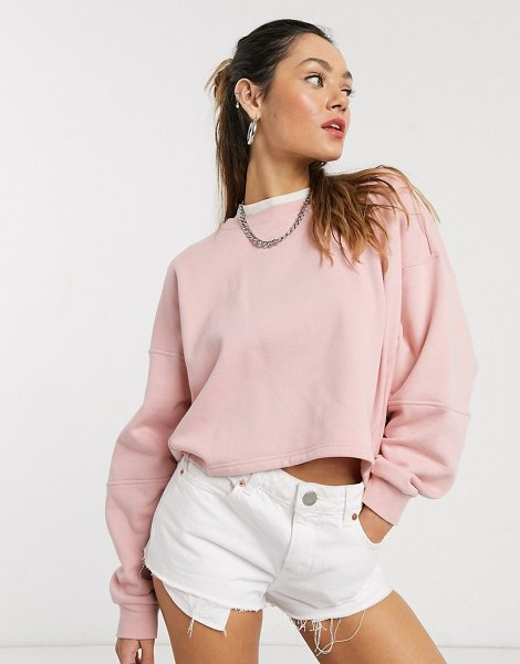 Noisy May oversized cropped drop arm sweatshirt in pink in pink