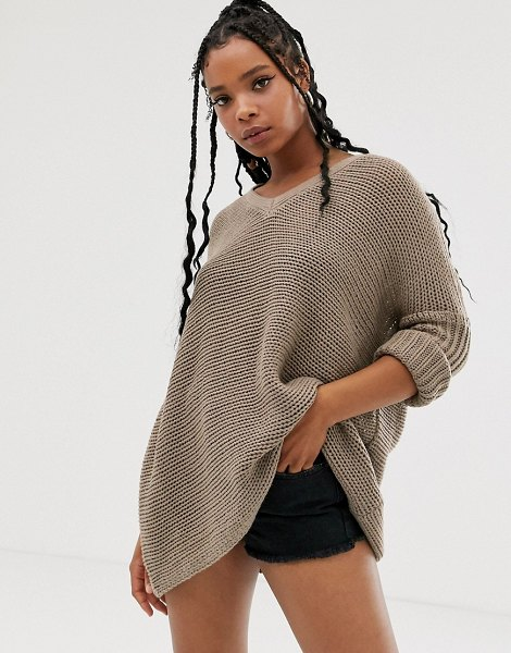 Noisy May oversized v neck sweater-beige in beige