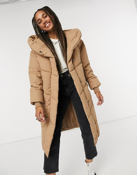 Noisy May padded coat in sand-brown in brown