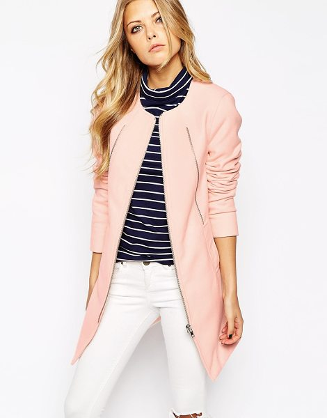 NOISY MAY Pastel collarless coat - Coat by Noisy May Soft-touch fabric Silky lining Round...