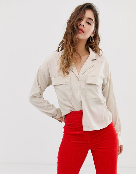 Noisy May pocket detail shirt with contrast stitch in oatmeal