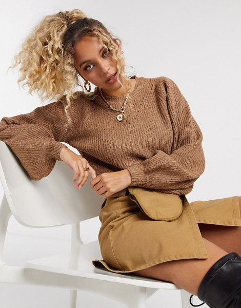Noisy May sweater with pointelle detail and volume sleeves in camel-brown in brown