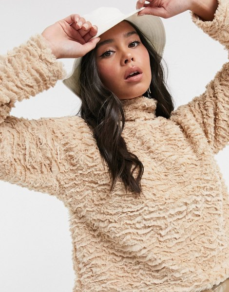 Noisy May textured faux fur top with high neck in camel-beige in beige