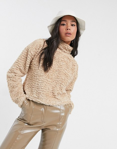 Noisy May textured fluffy top with high neck in camel-beige in beige
