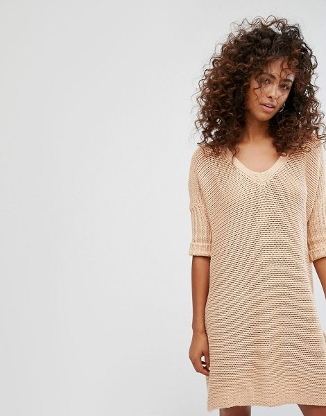 "Noisy May V-Neck Knitted Dress in pink - """"Dress by Noisy May, Ribbed knit, Low V-neck, Dropped..."
