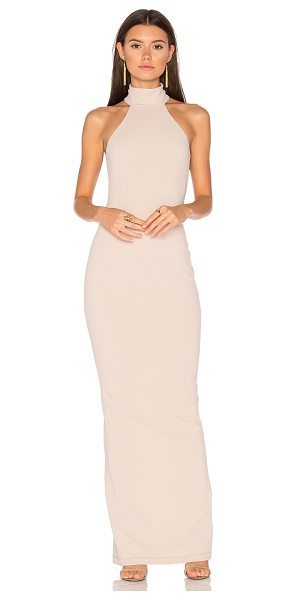 NOOKIE Basic Instinct Gown in beige - Poly blend. Dry clean only. Fully lined. Back slit....