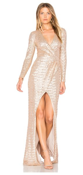 Nookie Cannes Gown in metallic gold - 95% poly 5% spandex. Hand wash cold. Fully lined....