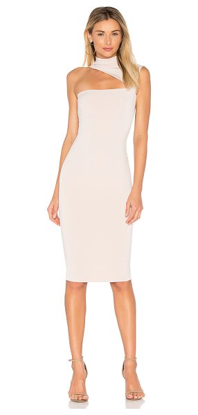 NOOKIE Charlize High Neck Dress - Poly/spandex blend. Unlined. Asymmetric neckline...