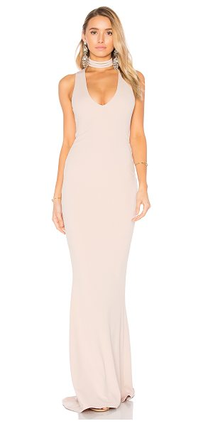 Nookie Diva Gown in beige - Poly/Spandex blend. Partially lined. Back hidden zipper...