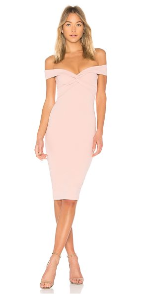 Nookie Dolly Midi Dress in pink - 94% poly 6% spandex. Fully lined. Boned bodice....