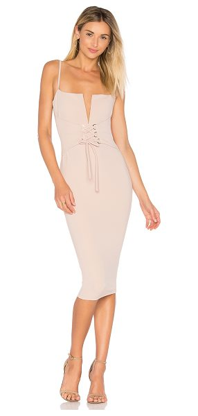 Nookie Madison Midi Dress in nude - Poly/spandex blend. Fully lined. Adjustable shoulder...