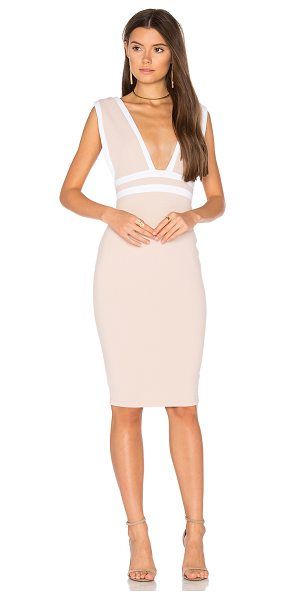Nookie Mia Midi Dress in beige - Poly blend. Dry clean only. Fully lined. Hidden back...