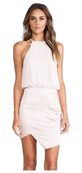 Nookie Royals halter dress in peach - Self: 82% acetate 16% rayon 2% spandexLining: 100% poly....