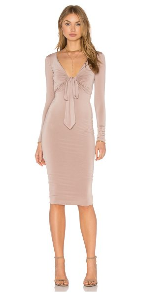 Nookie Selene Long Sleeve Midi Dress in brown - Poly/Spandex blend. Unlined. Front tie closure. Back...