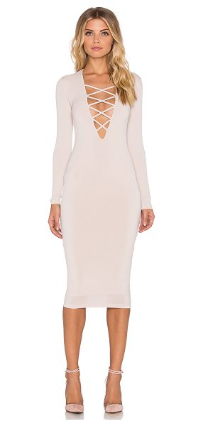 Nookie Ti amo lace up midi dress in beige - 94% poly 6% spandex. Lined. Back hidden zipper closure....