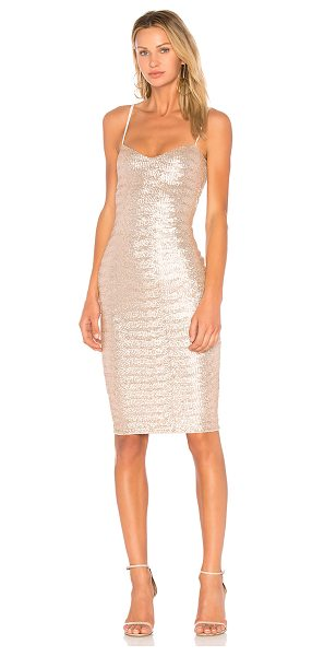 Nookie Vegas Midi Dress in metallic gold - Self: 95% nylon 5% spandex. Hand wash cold. Fully lined....