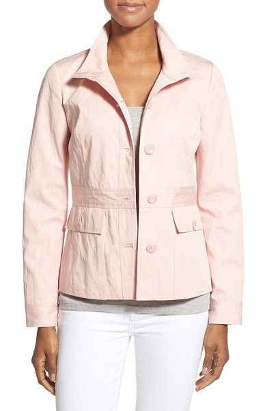 NORDSTROM COLLECTION belt detail fitted cotton jacket - An inset panel with button-tab details gives the...