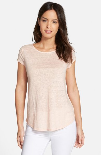 Nordstrom Collection cap sleeve linen tee in pink blush - A slubbed knit of fine linen brings light and breathable...