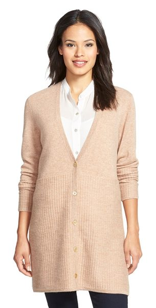 Nordstrom Collection stitch detail long button front cashmere cardigan in tan indochine heather - A switch in stitching from fine-gauge to ribbing brings...
