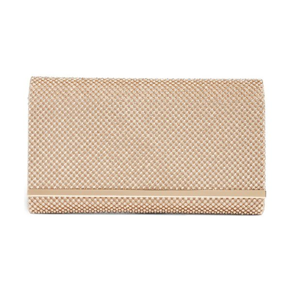 Nordstrom crystal mesh bar clutch in metallic