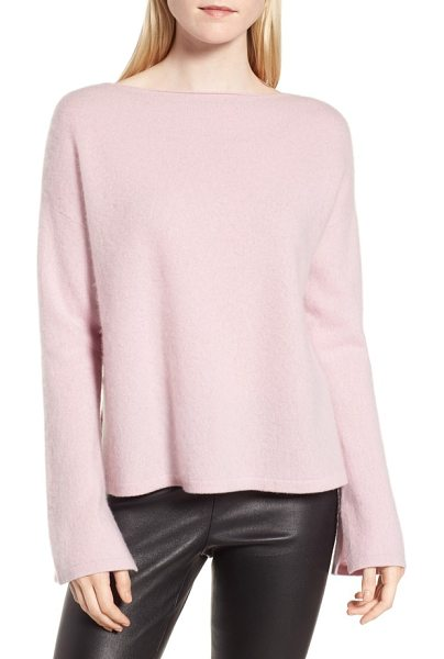 Nordstrom Signature boiled cashmere pullover in pink antique - Slits at the sides and cuffs lend layer-friendly ease...