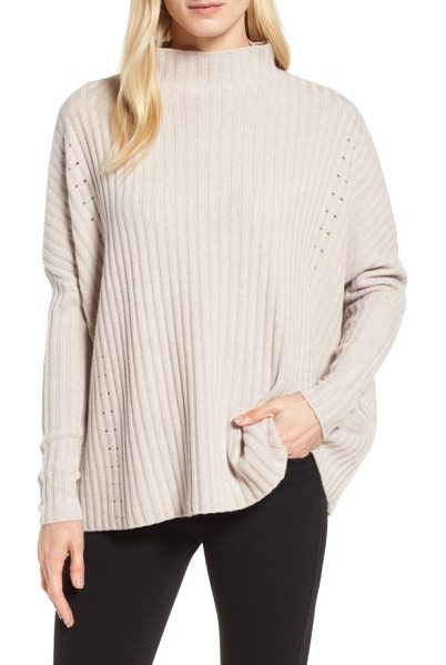 Nordstrom Signature boxy ribbed cashmere sweater in beige pumice heather - A super-slouchy pullover feels decadently cozy in a...