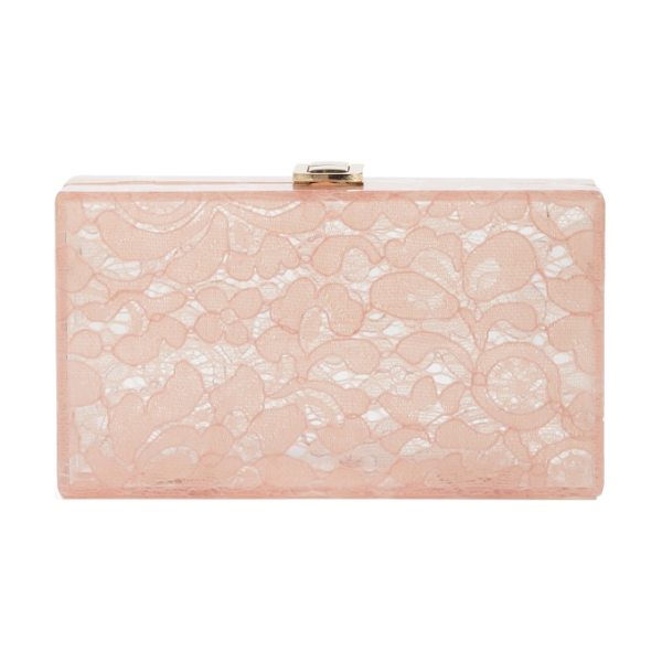 Nordstrom transparent lace box clutch in blush - Delicate floral lace overlays the transparent, boxy...