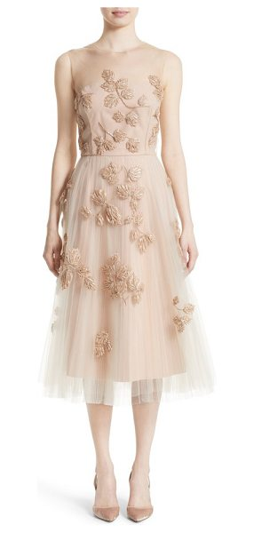 Carolina Herrera sequin leaf tulle midi dress in blush - Glossy beads and shimmering sequins trace a delicate...