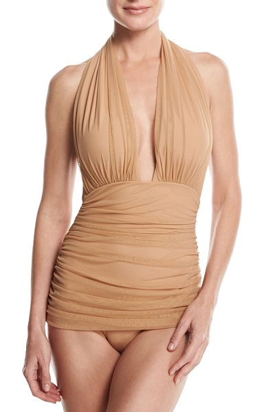 "Norma Kamali Bill Ruched-Mesh Halter Maillot Swimsuit in camel - Norma Kamali ""Bill"" one-piece swimsuit in mesh..."