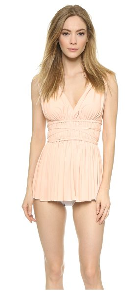 Norma Kamali Goddess swim dress in odessa pink - Thin ties circle the ruched waist of this elegant Norma...
