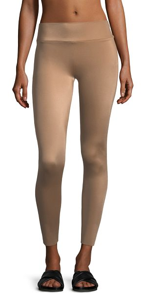Norma Kamali Low-Rise Ankle Leggings in medium brown - Norma Kamali leggings in signature stretch-jersey....