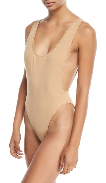 "Norma Kamali Marissa Scoop-Neck High-Cut Solid One-Piece Swimsuit in nude - Norma Kamali ""Marissa"" swimsuit in solid jersey..."