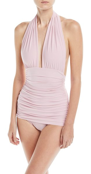 Norma Kamali Plunging Halter Ruched One-Piece Swimsuit in pink - Norma Kamali swimsuit in solid microfiber with ruching...