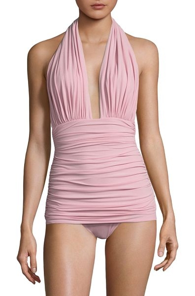 Norma Kamali ruched halter swimsuit in posey pink - Ruched halter swimsuit with plunging neckline....