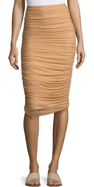 Norma Kamali Shirred Knee-Length Swim Skirt in camel - Norma Kamali allover shirred swimming skirt. Fitted...