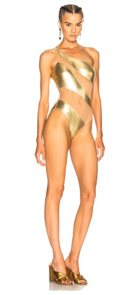 Norma Kamali Snake Mesh Mio Swimsuit in metallics - Self & Contrast Fabric: 80% nylon 20% spandex.  Made in...