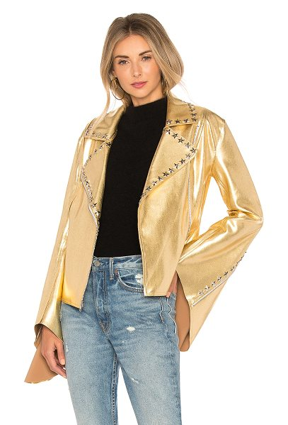 Norma Kamali x Revolve Gang Jacket in metallic gold - 80% nylon 20% spandex. Hand wash cold. Silver tone star...